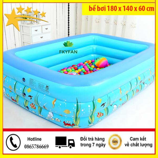 [ SHIP RẺ ] Bể bơi cho bé bơm hơi 180X140X60cm , hồ bơi cho bé ,bể bơi trẻ em gia đình, be boi tre em, Bể bơi phao Cỡ lớn cho bé và gia đình - Bể bơi phao 3 Tầng cỡ lớn: 180X140X60 loại dày tặng kèm Miếng Vá, hồ tắm cho trẻ em