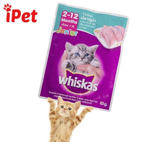 Pate Vị Cá Ngừ Cho Mèo Con Whiskas Junior Tuna 85g - iPet Shop