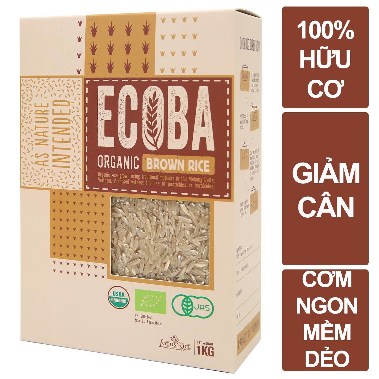 Gạo lứt giảm cân hữu cơ - ECOBA Kim Mễ 1kg - Cơm ngon mềm dẻo