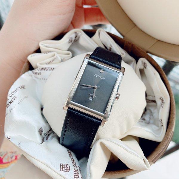 Đồng hồ Nữ Citizen Quartz BH3001-14H Size 27mm,Mặt đen vuông,Lịch ngày-Máy Pin-Dây da đen cao cấp