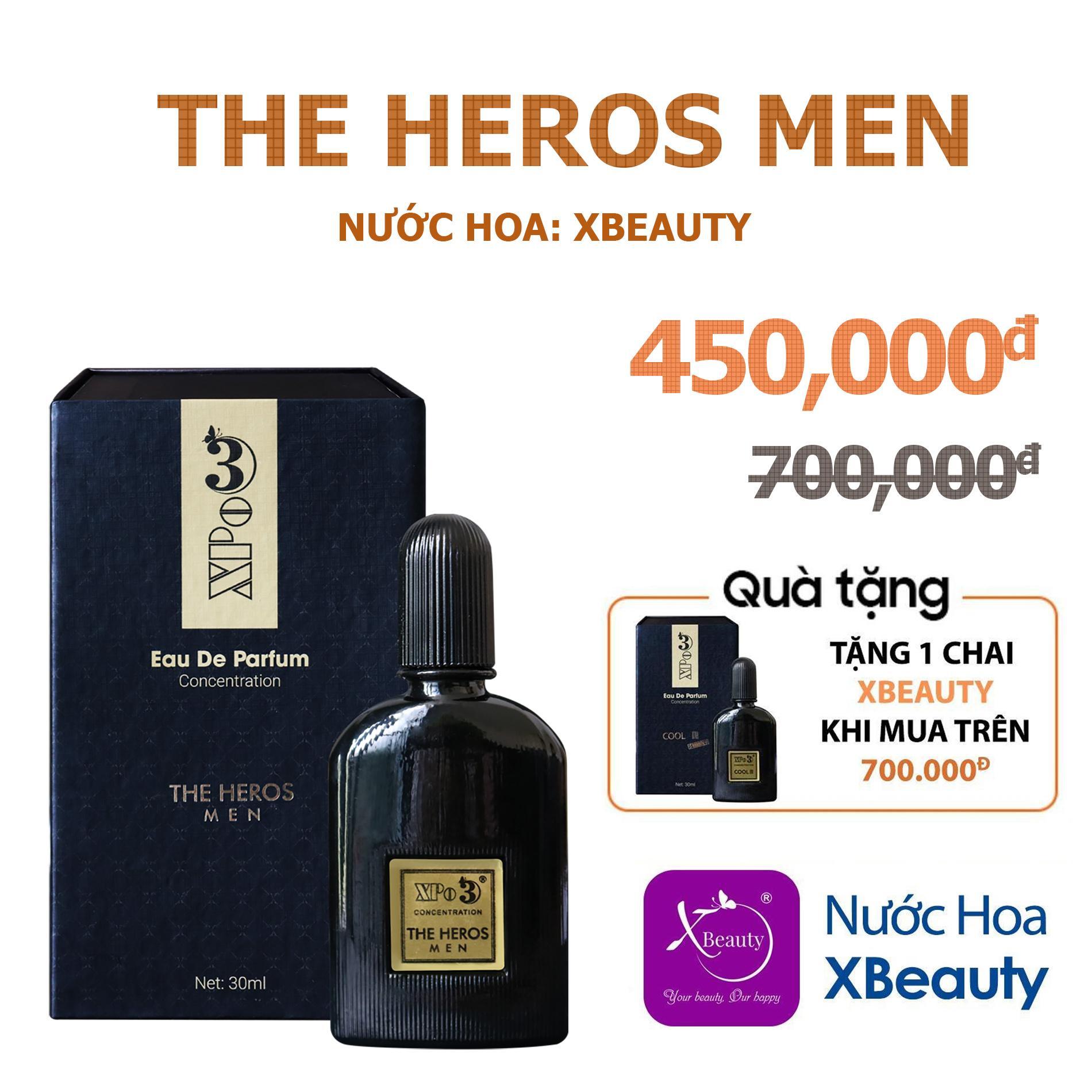Nước hoa Nam XBeauty XPo3 The Heros Men 30ml (GTIN: 8938511722079). Nước hoa cô đặc thơm lâu dành cho nam giới cao cấp