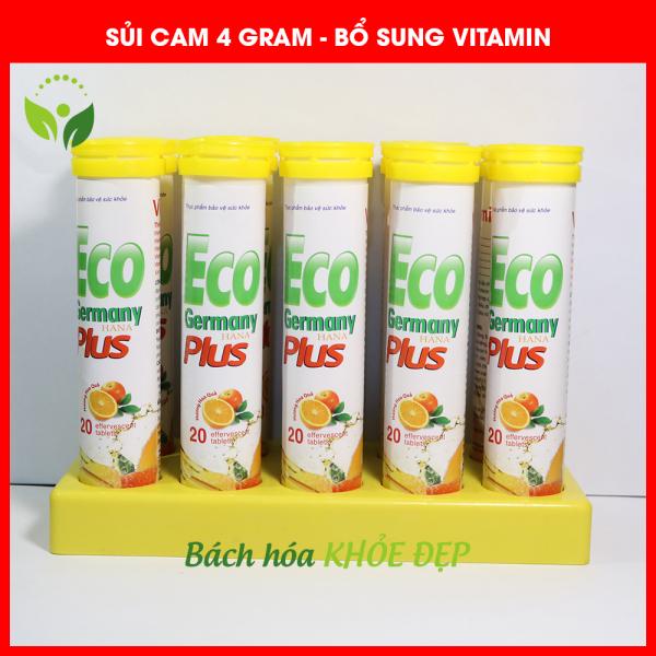 Viên C Sủi vị Cam bổ sung vitamin khoáng chất 4 gram tăng cường sức đề kháng - Hộp 20 viên chuẩn GMP Bộ Y Tế