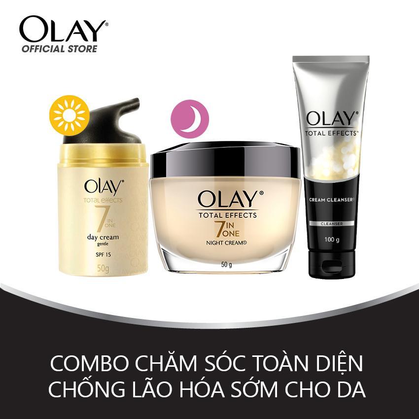 Combo chăm sóc toàn diện chống lão hóa sớm Kem dưỡng ngày, đêm và Kem rửa mặt Olay Total Effect