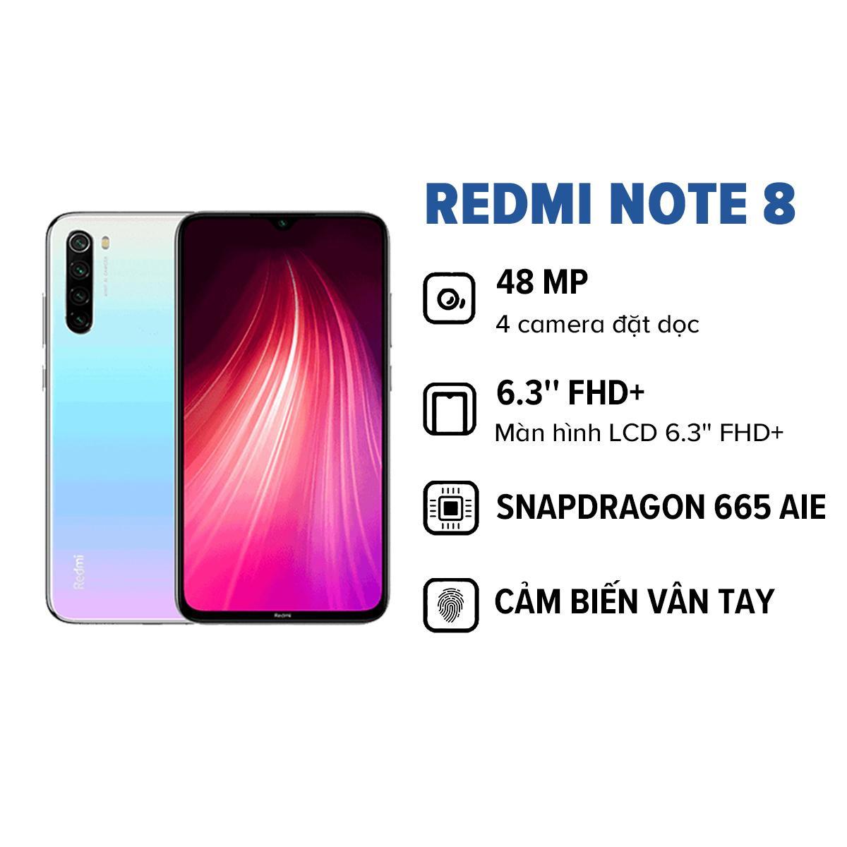 TRẢ GÓP 0% - BẢO HÀNH CHÍNH HÃNG 18 THÁNG   Điện thoại Xiaomi Redmi Note 8 (3GB/32GB), cảm biến vân tay, 4 camera đặt dọc 48MP, kính cường lực Corning Gorilla Glass 5, màn hình LCD 6.3'' FHD
