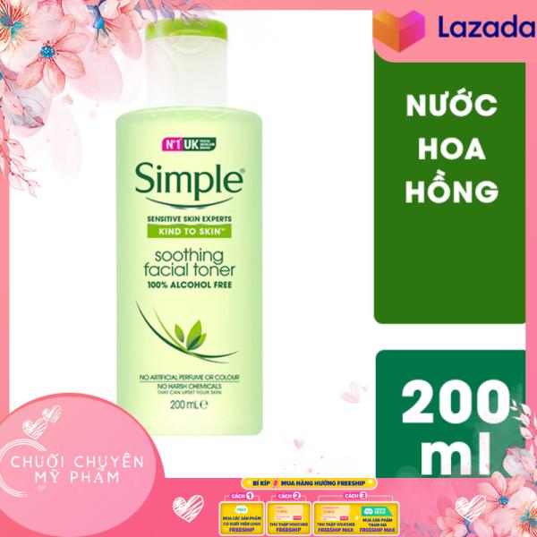 Nước Hoa Hồng Không Cồn Dành Cho Da Nhạy Cảm, Dễ Nổi Mụn Simple Kind To Skin Soothing Facial Toner 200ml