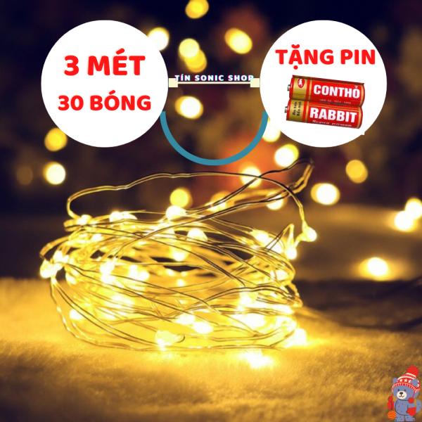 [Tặng 2 Pin] Dây đèn Led fairylight ,dây đèn đom đóm 3 mét 30 bóng  dùng pin