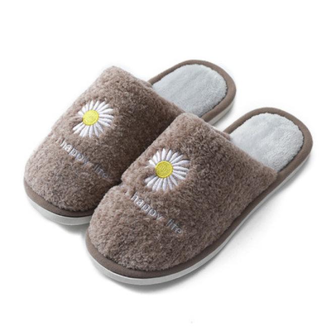 Dép bông lông cừu thời trang Unisex Hoa Cúc hottrend lót nỉ giữ ấm giá rẻ