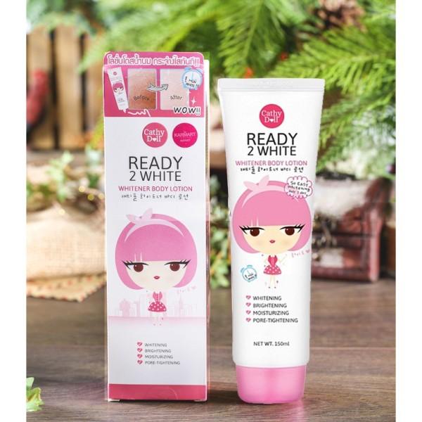 Kem Dưỡng Trắng Da Và Make Up Body Ready 2 White CATHY DOLL , Thái Lan Chính Hãng 150ml-Tặng Nạ Collagen Mắt