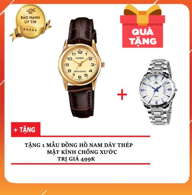 HOT Đồng Hồ Nữ Dây Da CA$IO LTP-V001GL-9BUDF - Chính Hãng Anh Khuê ( TẶNG KÈM 1 ĐỒNG HỒ NAM CHỐNG NƯỚC 499K )
