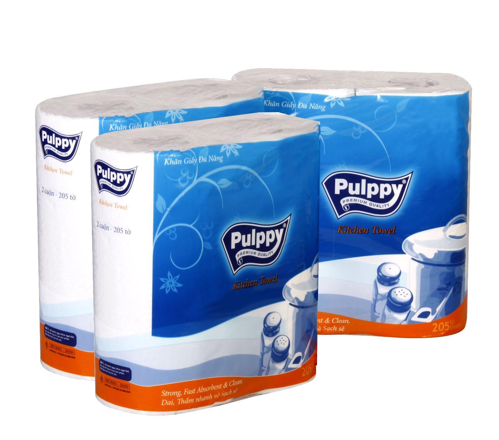 Combo 3 Gói Khăn Giấy Đa Năng Pulppy Classic (2 Cuộn)