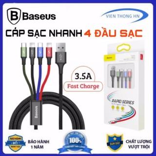 Dây sạc 4 đầu Baseus 4 in 1 lightning micro usb type c - cáp sạc đa năng 3 in 1 cho iphone samsung ..vv thumbnail