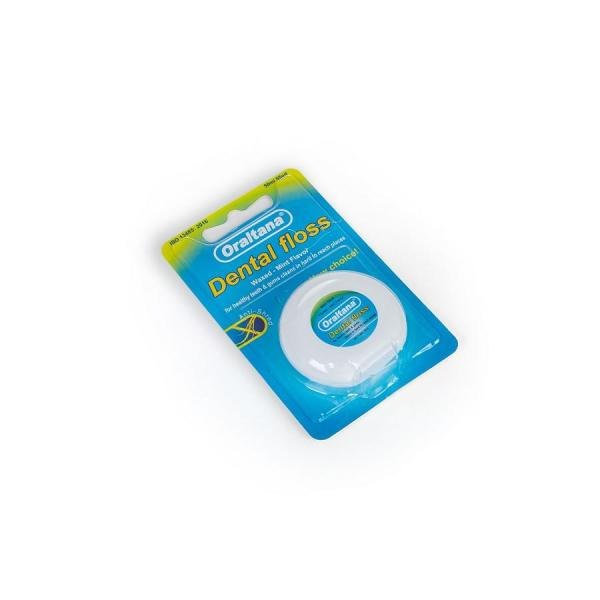 Chỉ nha khoa Oraltana đa sợi cuộn dài 50m hương bạc hà - vỉ 1 cuộn giúp vệ sinh răng miệng sạch sẽ, chất liệu an toàn cho gia đình