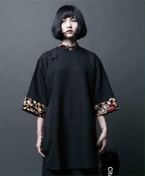 Áo dài Shanghai cách tân nam nữ Unisex phối gấm hỷ, hán phục cổ trang