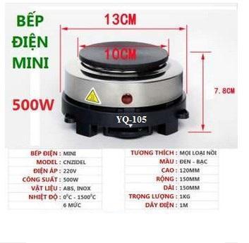 Không Thể Bỏ Qua Giá Hot với BẾP ĐIỆN MINI 500W Model YQ-105 KHÔNG KÉN NỒI