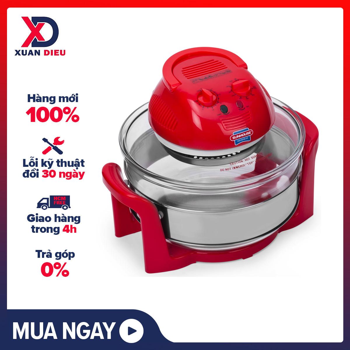 Lò nướng thủy tinh SUNHOUSE SH410 đỏ - Nồi nướng bằng thủy tinh chịu nhiệt, có thể tháo rời, dễ dàng vệ sinh.Công nghệ nước Halogen kết hợp quạt đối lưu giúp thức ăn chín đều, nhanh Hẹn giờ & Điều chỉnh nhiệt độ