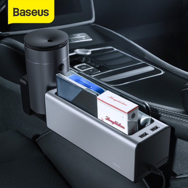 Baseus Car Organizer Gaps Auto Seat Crevice Storage Box with Dual USB Ports Retractable Cup Phone Holder for Pockets Storage Slots Car Accessories