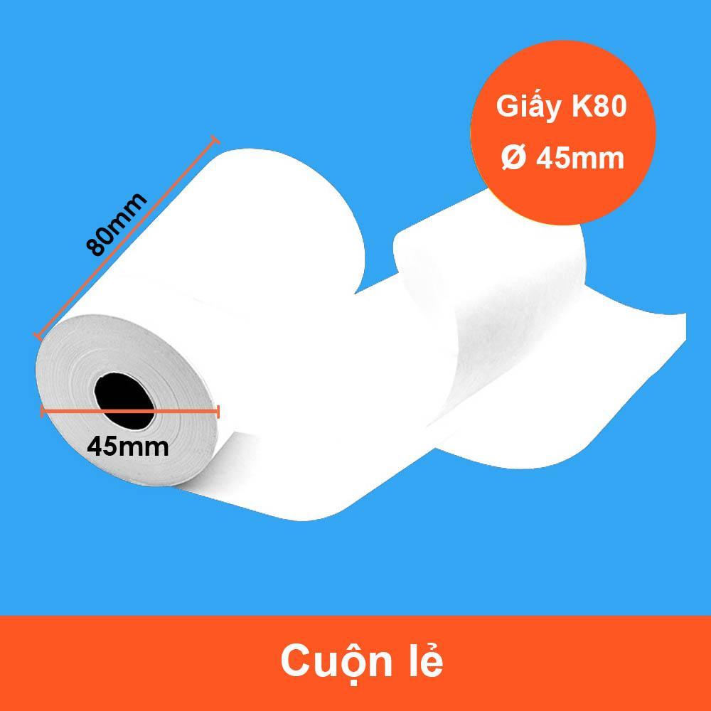 Mua 2 Cuộn giấy in hóa đơn / giấy in bill / giấy in nhiệt K80 phi 45 bọc bạc GIN-K80A