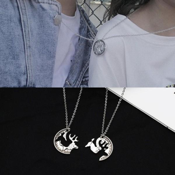 Dây chuyền cặp đôi cực đẹp - mặt dây hình đôi hươu đáng yêu