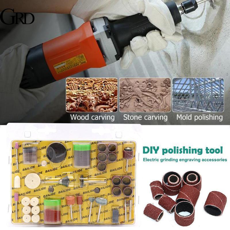 GRAND 105pcs 105pcs Electric Suit Carpenter Grinding Wheel Tool Sandpaper Bar Circle DIY Grinding Tool Set