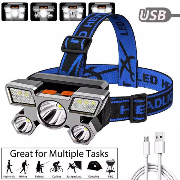 Bảng giá Đèn pha LED 5 lõi siêu sáng Đèn pha mạnh mẽ có thể sạc lại đèn đánh cá gắn trên đầu Đèn LED thợ mỏ có thể sạc lại USB