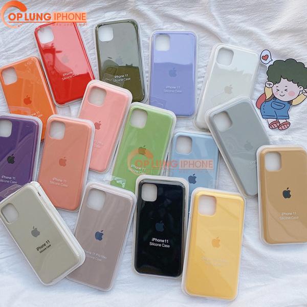 Giá Ốp iphone chống bẩn màu trơn chất liệu mềm mịn kèm logo táo sang chảnh đủ mã 6,6s,6 plus,6s plus,7,8, 7 plus,8 plus,X, Xs Max