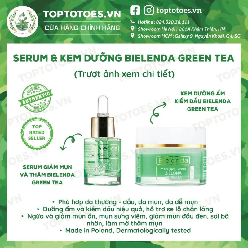 Serum & Kem dưỡng Bielenda Green Tea kiềm dầu, giảm mụn, thâmngừa mụn, phục hồi, trẻ hoá da