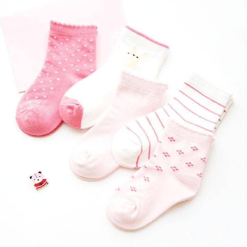 Set 5 đôi tất cao cổ nhiều họa tiết phối màu đáng yêu cho bé từ 1-12 tuổi – T008
