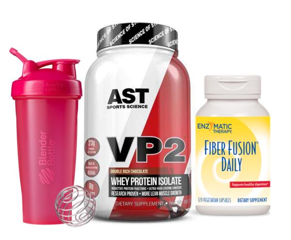 Combo sữa tăng cơ AST VP2 Protein Isolate 2lb & Chất xơ Fiber Fusion Daily 120 viên & Shaker