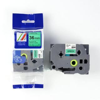 Nhãn in CPT-761 tương thích máy in nhãn Brother P-Touch - Nhãn in chữ đen nền xanh lá khổ 36mm (Green) thumbnail