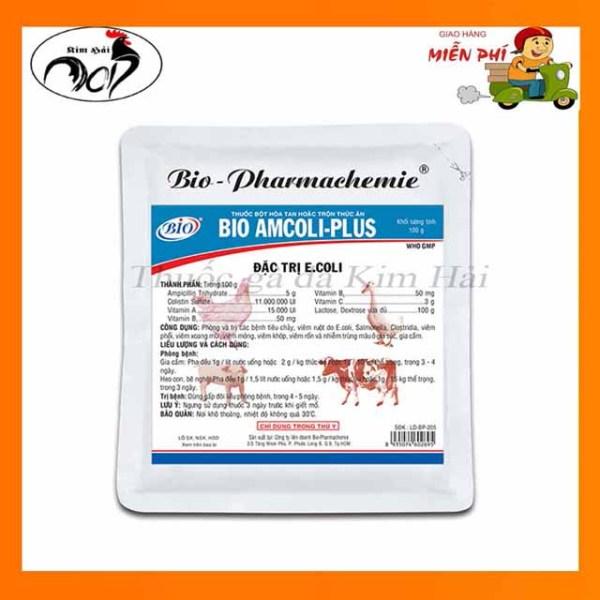 thuốc thú y-Ampicoli plus-gói 100g-e.coli,tiêu chảy,viêm rốn cho gia súc,gia cầm.