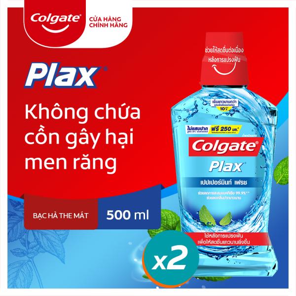 Bộ đôi nước súc miệng Colgate diệt 99% vi khuẩn Plax bạc hà 500ml/chai giá rẻ