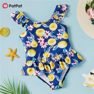 PatPat Đồ Bơi Xếp Ly In Hình Chanh Cho Bé Gái Tập Đi Đồ Bơi Một Mảnh Cho 3-6 Tuổi-z