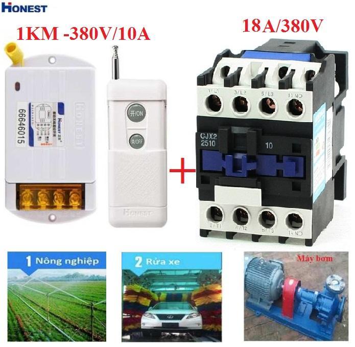 Bộ công tắc điều khiển từ xa 1Km Honest 380V/10A và 1 khởi động từ CJX2 18A/380V dùng để đóng mở thiết bị điện công suất lớn