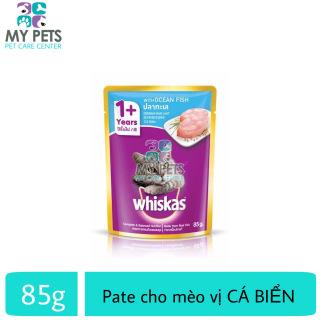 [HCM]Thức ăn ướt pate xốt Whiskas hương vị Cá Biển dành cho mèo lớn - Gói 85g thumbnail