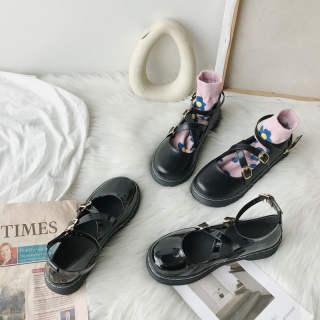Giày Mary jane phong cách Nhật Bản cho nữ giày đế bệt màu đen bóng mũi tròn chống trơn trượt thời trang mới - INTL