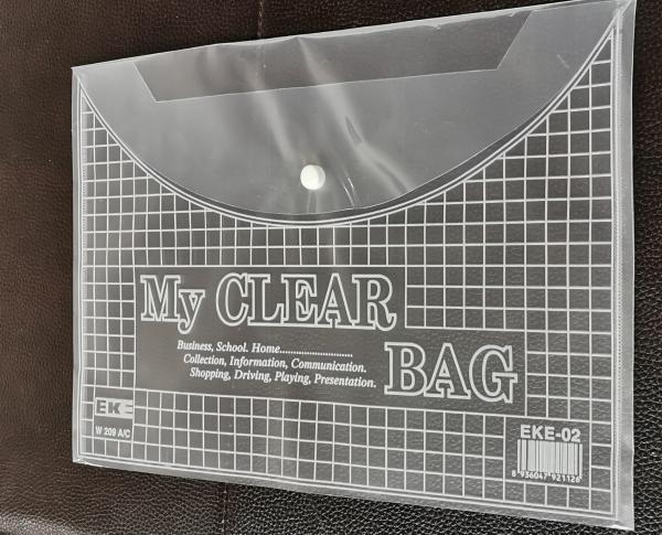 Mua [SỈ/BUÔN] Combo 50 Túi Clear Bag Khổ A4 mã 17580 Có Khuy Bấm siêu bền màu trắng