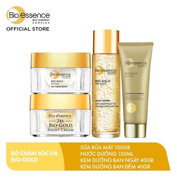 Combo Chăm sóc da Bio-Gold (Sữa rửa mặt 100gr + Nước dưỡng 150ml + Kem dưỡng ban ngày 40gr + Kem dưỡng ban đêm 40gr)