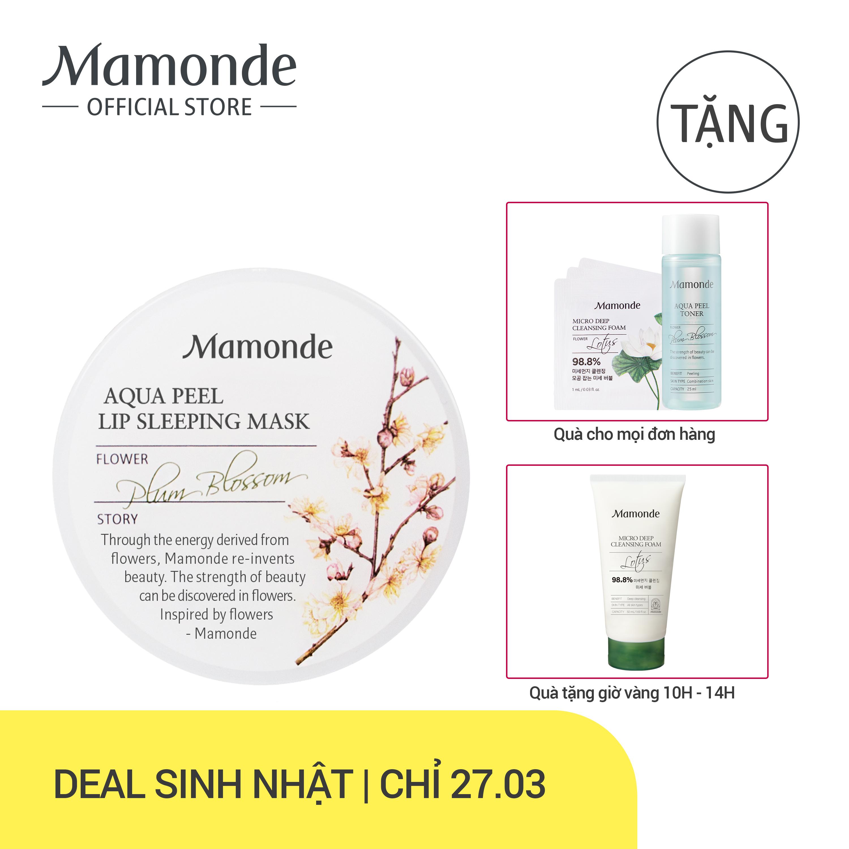 Mặt nạ ngủ môi dưỡng ẩm và loại bỏ tế bào chết da môi Mamonde Aqua Peel Lip Sleeping Mask 20g tốt nhất
