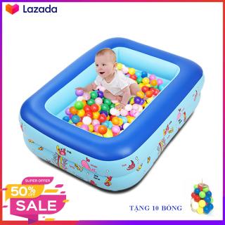 Bể bơi phao bơi cho bé 3 tầng, sử dụng chất liệu PVC an toàn với trẻ nhỏ, Được tặng kèm 10 bóng nhựa cho bé thỏa sức vui chơi bơi lội thumbnail