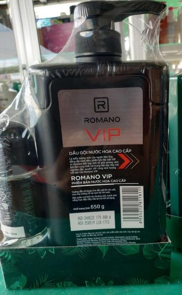Dầu Gội & Sữa Tắm ROMANO VIP 650G - Tặng Kèm Lăn Khử Mùi 40ml