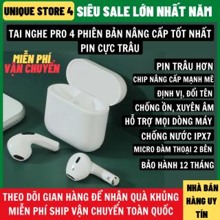 Tai Nghe Bluetooth Pro 4 Không Dây Bản Nâng Cấp Chip Mạnh Mẽ Nghe Siêu Hay, Chống Nước IPX7, Thiết Kế Nhỏ Gọn Hỗ Trợ Mọi Dòng Máy Micro Đàm Thoại 2 Bên Chống Nước, tai nghe, tai nghe bluetooth, tai nghe không dây thumbnail