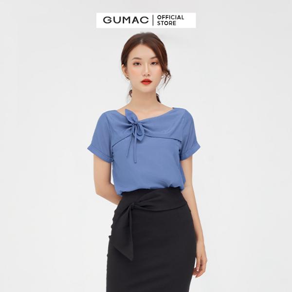 Nơi bán Chân váy nữ  phối nơ GUMAC mẫu mới VB582 Chất Liệu Cotton 4 Chiều form bút chì style công sở