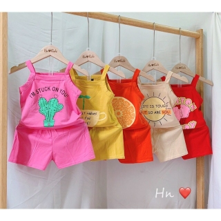 Bộ 2 dây bé gái chất liệu cotton thoáng mát mềm mịn thích hợp thời tiết mùa hè (6-16kg) thumbnail