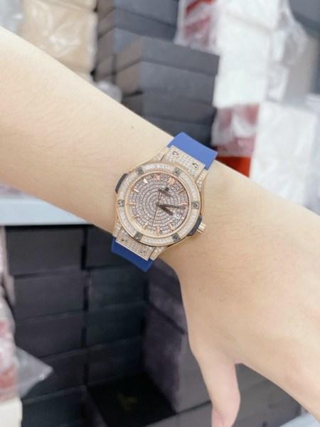 Nơi bán [FULLBOX] Đồng hồ HL nữ đính đá  Đồng hồ nữ dây cao su 34mm HL /dong ho nu CAO CẤP HL bảo hành 36 tháng