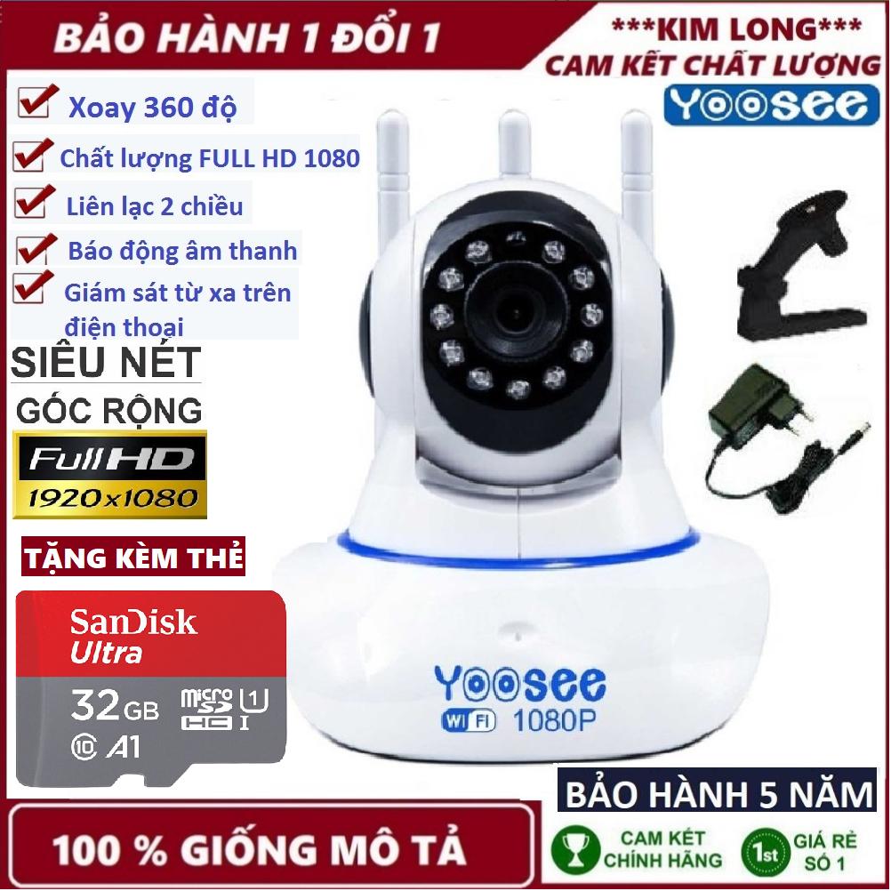 (BH 5 năm cả máy lẫn thẻ,TẶNG THẺ 32GB CHUẨN YOOSEE),camera trong nhà,ngoài trời,Camera yoosee 3 râu,camera wifi full HD,camera ghi âm giọng nói,lưu trữ video