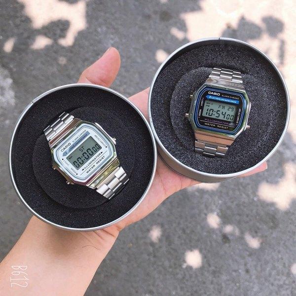 Đồng hồ Nam Casio A168 điện tử FULL BOX dây thép không gỉ, cổ điển, chống nước, bảo hành 9 tháng - Lux.watch bán chạy
