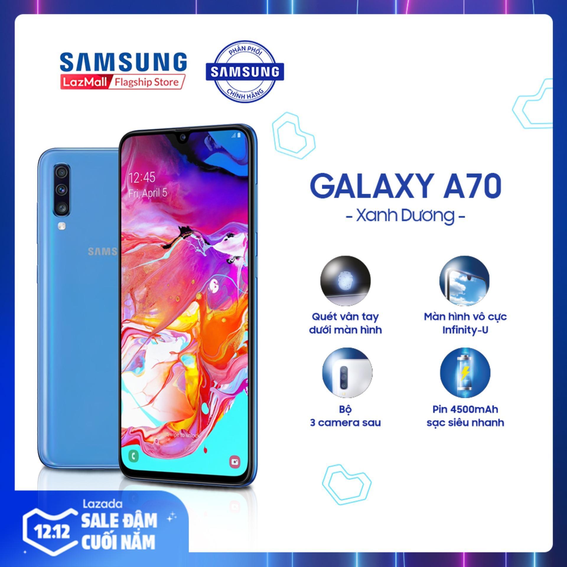 Giảm Giá Ưu Đãi Khi Mua Điện Thoại Samsung Galaxy A70 128 GB (6GB RAM) - Màn Hình Super AMOLED 6.0  Full HD + Bảo Mật Cảm Biến Vân Tay Dưới Màn Hình + Nhận Diện Khuôn Mặt + Bộ 3 Camera Sau + Pin 4000 MAh - Hàng Phân Phối Chính Hãng.
