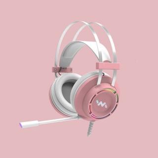Tai nghe chụp tai WANGMING 9800S - Dây USB âm thanh 7.1 - Có màu hồng - Led RGB thumbnail