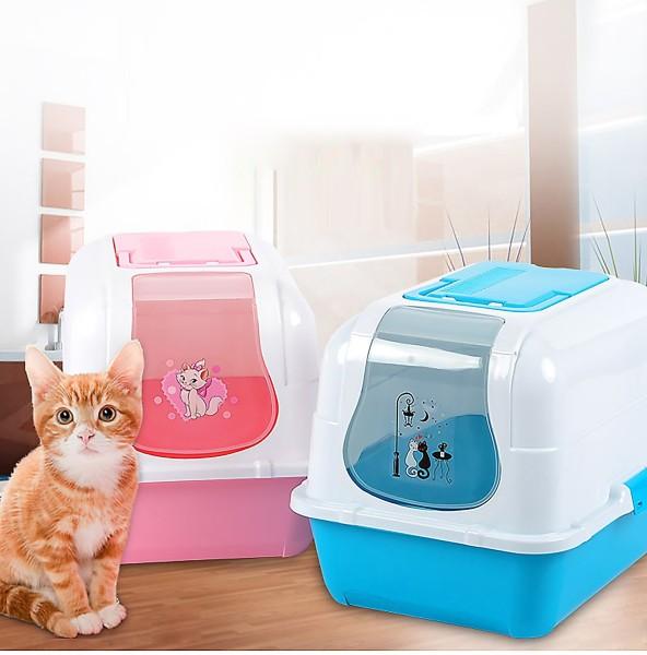 STVX - Nhà vệ sinh cho mèo Size lớn (có 4 loại ) tặng kèm xẻng (màu ngẫu nhiên) / nha ve sinh meo / khay đựng cát mèo / cat ve sinh meo / hop dung cat meo / nha meo / long meo /
