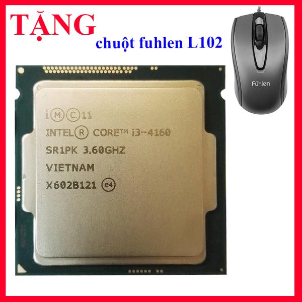 Giá [ TẶNG CHUỘT FUHLEN L102 ] Bộ vi xử lý CPU INTEL CORE I3 4160 PC socket 1150 lắp main H81 B85 chạy RAM DDR3 1G 2G 4G 8G bus 1333/1600 Chip haswell thế hệ 4 tốc độ chíp  3.6GHZ  cấu tạo 2 lõi – 4 luồng Hàng chính hãng